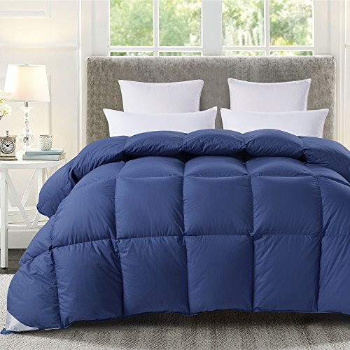 ROSECOSE Luxurious Goose Down Comforter Queen Size Duvet Insert All Seasons Hypo-allergenic 1200 Thread Count 750+ Fill Power 100% Cotton Shell Down Proof with Tabs (Queen,Navy Blue)