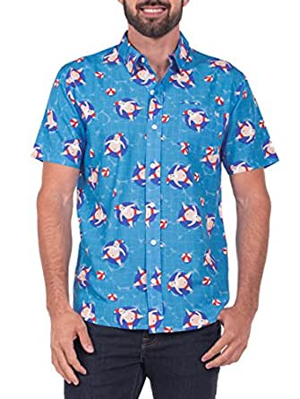 Tipsy Elves Men's Pool Boy Santa Hawaiian Christmas Button Down Shirt (Small) Red