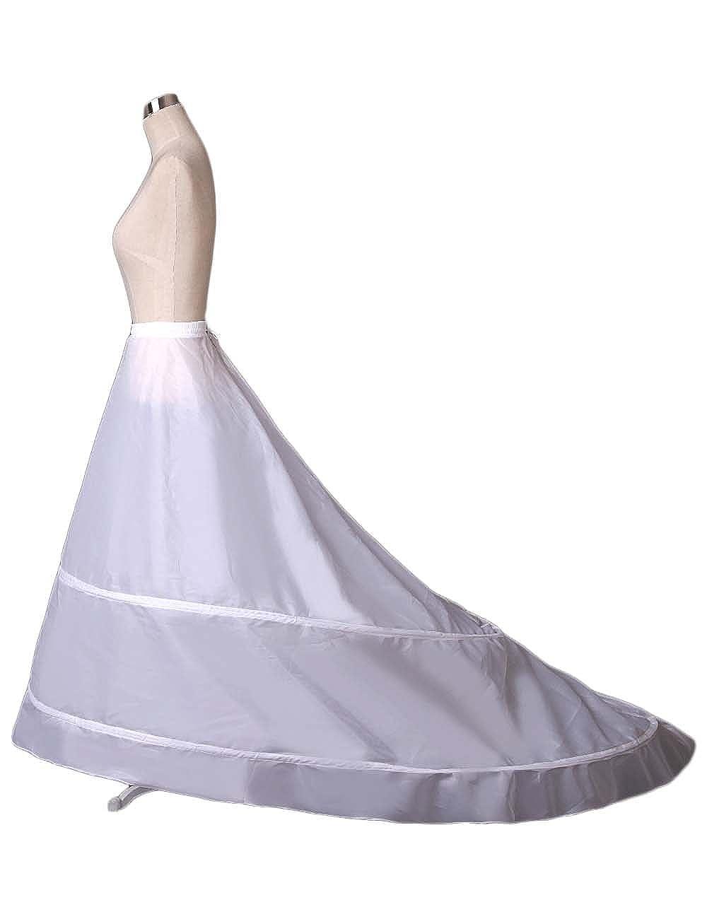 Ruiyuhong Womens A-line 2-Hoop Petticoat Underskirt Crinoline for Wedding Dress Train PE04 White at Amazon Womens Clothing store: