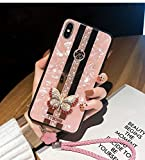 iPhone Xs Max Butterfly Case,SelliPhone Fashion Design Cute 3D Butterfly Glitter Bling Rhinestone Marble Mirror Cover with Wrist Strap for Woman Girl for iPhone Xs Max 6.5',Pink