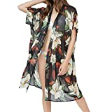 Winsummer Women's Beach Cover Up Floral Print Chiffon Summer Sun-Protection Swimwear Kimono Cardigan Black