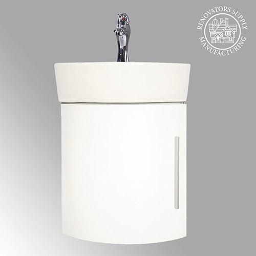 Myrtle 16 1/2″ Small Corner Cabinet Vanity Wall Mounted Bathroom Sink White