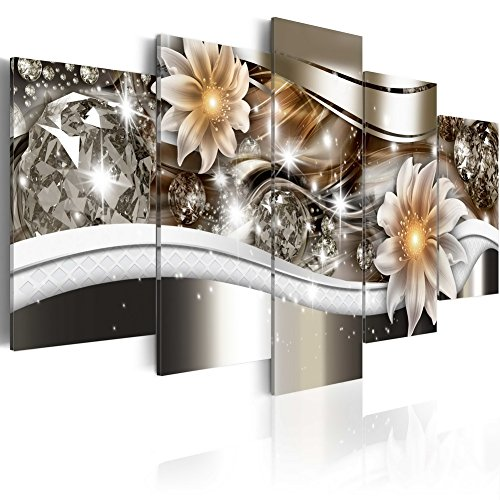 "Huge Flower Art Print Canvas Painting Contemporary Wall Decor Picture Large Home Decoration for Bedroom Diamond Crystal Floral HD Artwork Framed Easy Hanging (60""x30"", Crystal) (Decor Crystal Wall Flower)"
