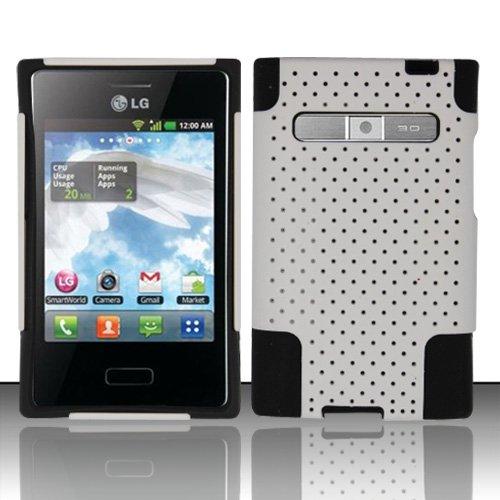 Cover For LG Optimus Logic L35g / LG Optimus Dynamic L38c - Mesh Hybrid Design PC + Silicone - Hard Rubberized Tuff Case - White with Black L35g / l38c Case - TRENDE (Lg Optimus Logic Phones compare prices)