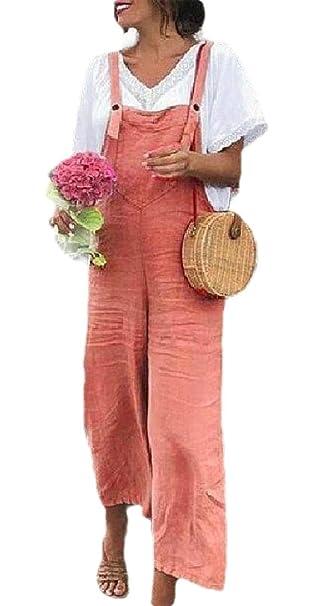 BingSai - Mono de algodón y Lino para Mujer Naranja Naranja L ...