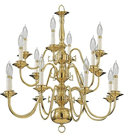 Quorum International 6171-16-2 Chandeliers with Shades, Polished Brass - Sixteen Lamp Chandelier