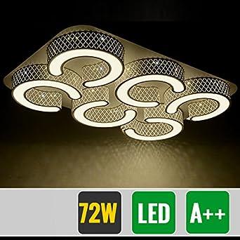 HG® 72W LED Deckenlampe Markantes Design Badezimmer Lampe Schwarz  Energiespar Warmweiß eckig Deckenbeleuchtung