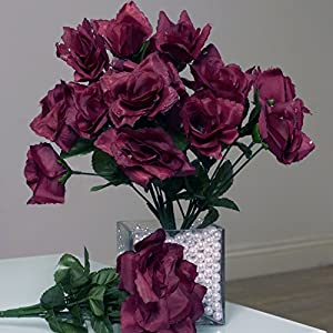 Tableclothsfactory 84 Artificial Open Roses Wedding Flowers Bouquets - Burgundy 70
