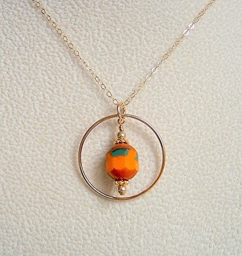 Focal Barrel (Orange Barrel Czech Glass Frame Pendant Necklace 14K Gold Filled 20