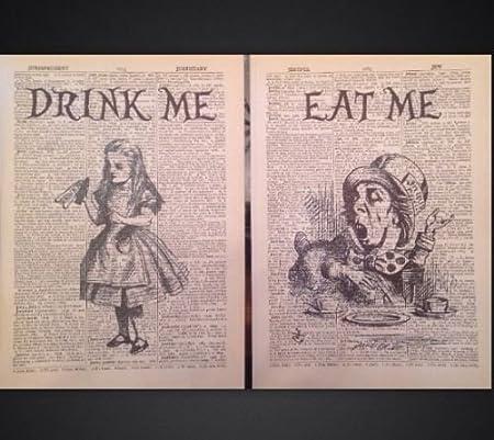 Page de dictionnaire art print vintage antique Livre Alice au pays des merveilles CITE IMAGE