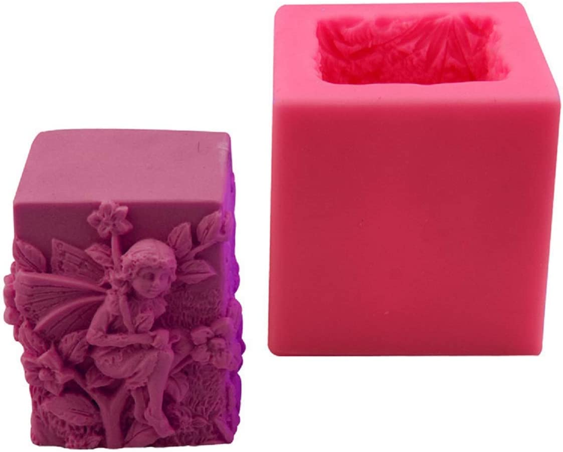 Allinlove Fairy Angel Silicone Soap Molds Candle Molds 3D Pillar Silicone Candle Molds Cake Decorating Tools Jello Sugar Chocolate Candy Fondant Molds Polymer Clay Mould DIY Crafts Mold Decoration