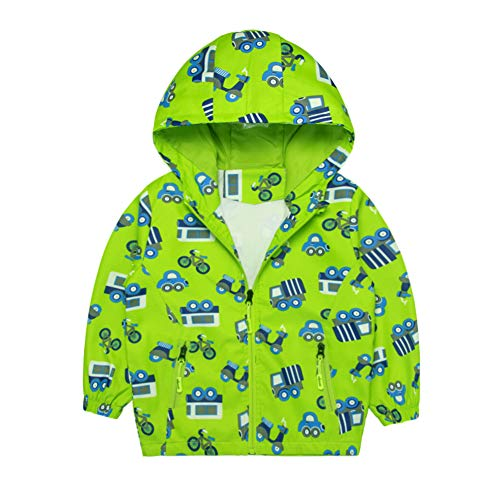 (Boys Jacket Car Printed Hooded Windproof Outdoor Rain Coat for Toddlers (Green,6T))