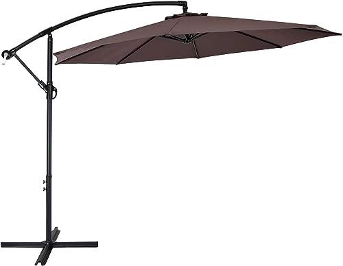AMTALL 10ft Patio Offset Umbrella Cantilever Umbrella Outdoor Hanging Market Umbrella