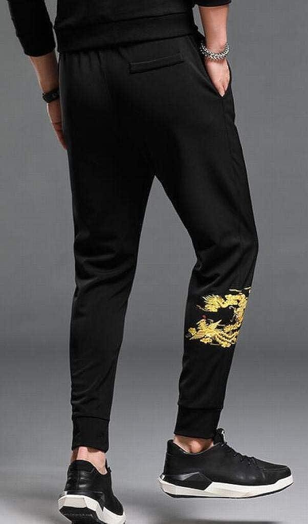 Suncolor8 Mens Elastic Waist Harem Dragon Print Casual Active Jogging Pants Trousers