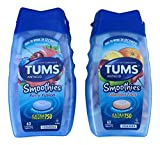 2 Pack, Tums Smoothies Berry Fusion 60 Count and Smoothies Assorted Fruit 60 Count