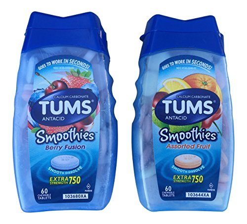 2 Pack, Tums Smoothies Berry Fusion 60 Count and Smoothies Assorted Fruit 60 Count by TUMS