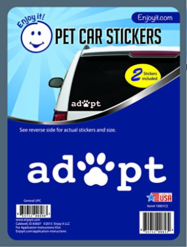 Enjoy It Adopt Pawprint Car Stickers, 2 Pieces, Outdoor Rated Vinyl Dog Cat Pet Adoption Sticker ()