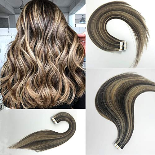 - Vowinlle 18inch 40g/20pcs Balayage Colour Hair Extensions Ash Brown Highlighted with Bleach Blonde P18/613 Natural Hair Extension Tape in Human Hair