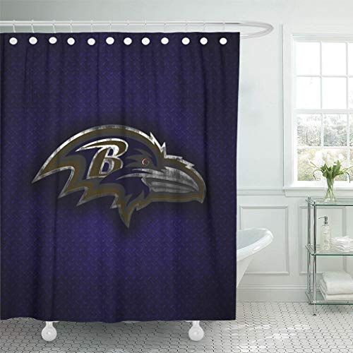 - Ladble Decor Shower Curtain Set with Hooks Baltimore Maryland Creative Art Emblem Purple Metal Background Ravens 72 X 72 Inches Polyester Waterproof Bathroom