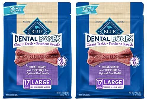 2 Pack Blue Buffalo Large Blue Bones Natural Dog Dental Chews, 27-Ounce each