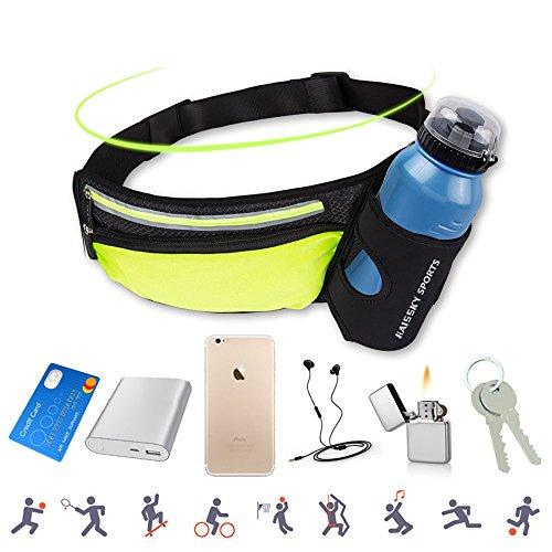 AFFLEXY Fanny Pack with Water Bottle Holder, Running Waist Bag Hiking Waist Pack Multifunctional Sports Waist Bag for Running, Hiking, Climbing and Walking