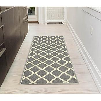 Ottomanson Glamour Collection Contemporary Moroccan Trellis Design Kids Lattice Area Rug Non Slip - Grey Kitchen Mat
