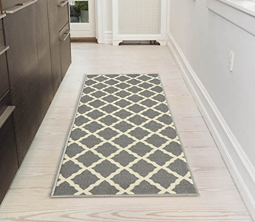 "Ottomanson Glamour Collection Contemporary Moroccan Trellis Design Kids Lattice Area Rug (Non-Slip) Kitchen and Bathroom Mat, 20"" x 59"", Grey"