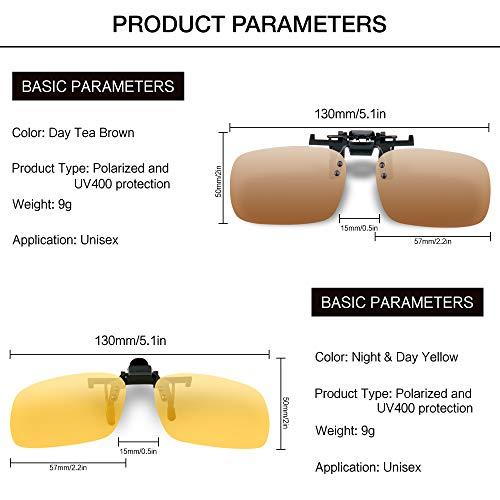 Splaks Clip-on Sunglasses, Unisex Polarized Frameless Rectangle Lens Flip Up Clip on Prescription Sunglasses Eyeglass, 2-Piece Clip on Glasses (1 Brown & 1 Yeallow) by Splaks (Image #5)