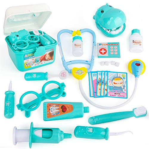 NextX Toy Medical Kits Pretend Play Doctor Kit Toys, Kids Electronic Stethoscope Dentist Medical Kit Gifts Boy & Girl Learning Educational Toddler Games Role Play (14PCS)