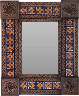 Small Brown Orange Flower Tile Talavera Tin Mirror (Flower Tin Mirror)