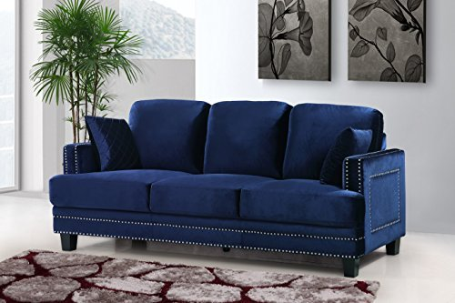 Meridian Furniture 655Navy-S Ferrara Velvet Upholstered Sofa with Square Arms, Silver Nailhead Trim, and Custom Solid Wood Legs, ()