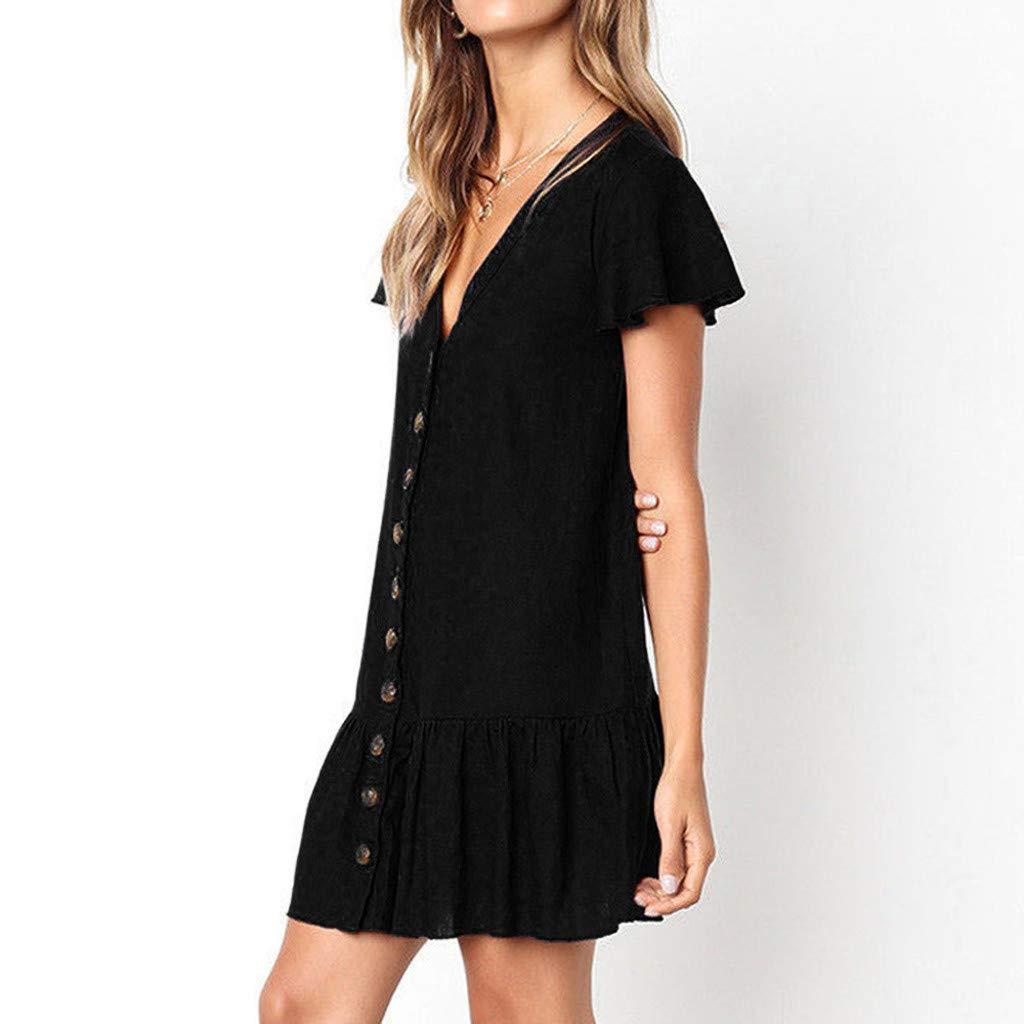 Shirt Dresses for Women Button Down Short Sleeve Sundress Maxi Boho Casual Mini Dress