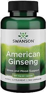 Swanson American Ginseng 550 Milligrams 100 Capsules