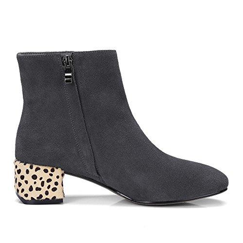 Ni Syv Semsket Skinn Kvinner Rund Tå Chunky Hæl Leopard Trendy Håndlaget Virksomheten Ankel Boots Grå