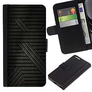 KingStore / Leather Etui en cuir / Apple Iphone 6 PLUS 5.5 / Patrón Ciencia ficción Gris oscuro Líneas