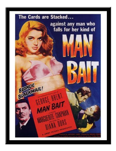 Iposters Man Bait Diana Dors Movie Print 1952 Magnetic Memo Board Black Framed - 41 X 31 Cms (approx 16 X 12 Inches)
