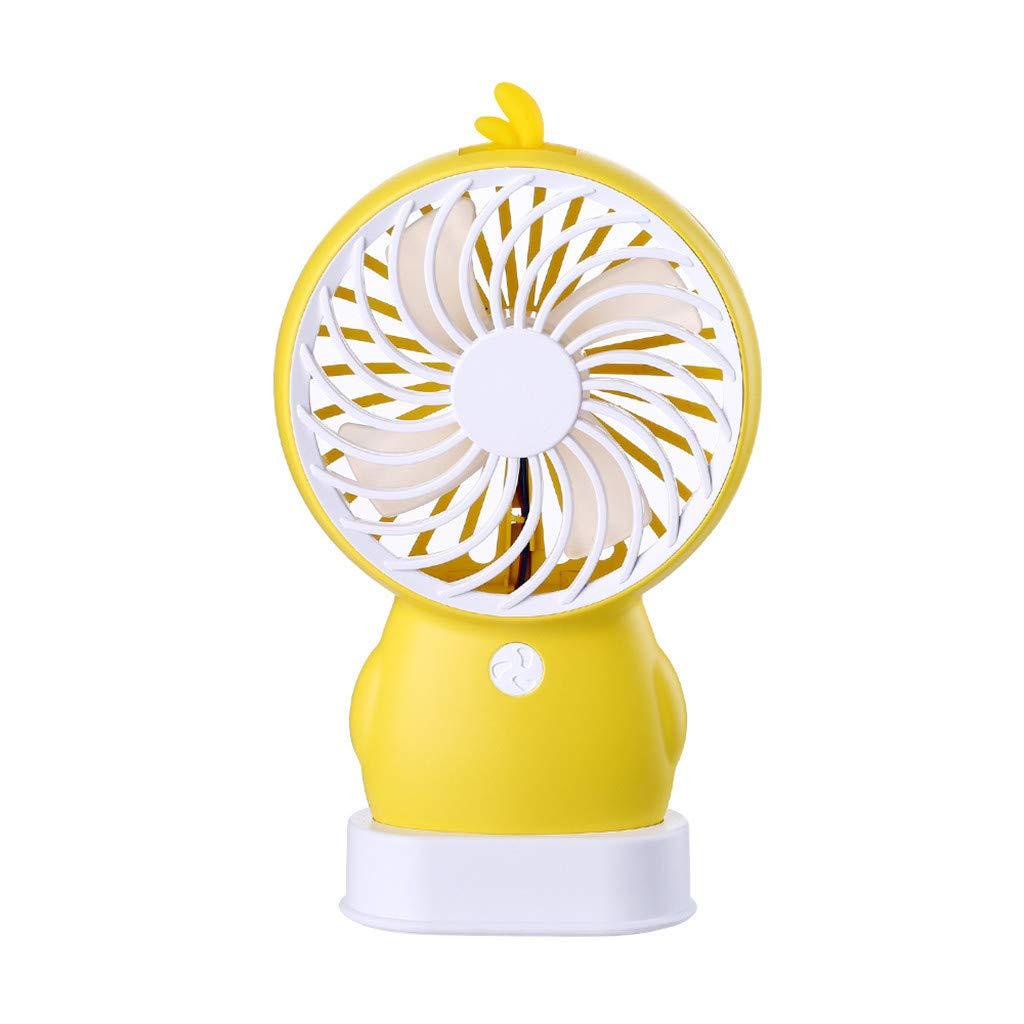 Mini Handheld Fan,Jchen Personal Portable Desk Table Fan with USB Rechargeable Cooling Electric Cute Cartoon Fan (Yellow)