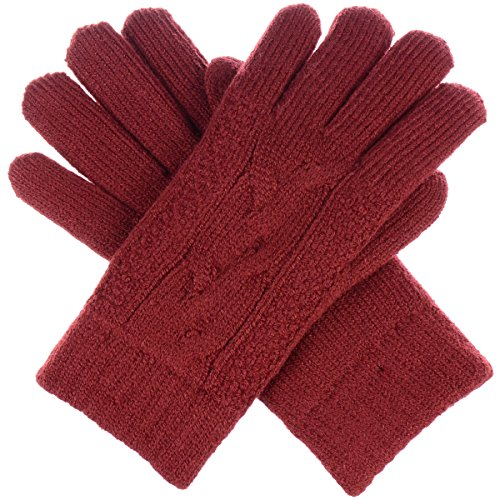 BYOS Women Winter Classic Cable Ultra Warm Soft Plush Faux Fur Fleece Lined Knit Gloves (Rust Red Single Cable) (Single Layer Fleece)