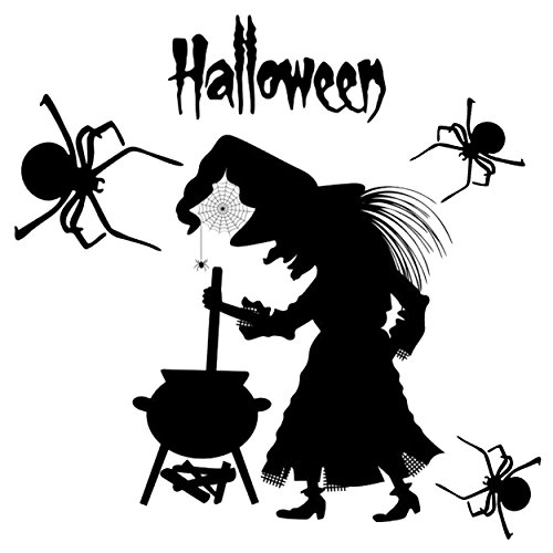 Ivenf Halloween Party Supplies Decorations Wall Decal Window Decor Witch And Spiders