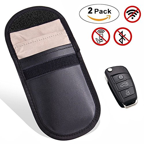 2 X Car Key Signal Blocker Case, Keyless Entry Fob Guard Signal Blocking Pouch Bag, Antitheft Lock Devices, Healthy Cell Phone Privacy Protection Security WIFI / GSM / LTE / NFC / RF Blocke (Remote Yourself Starter)