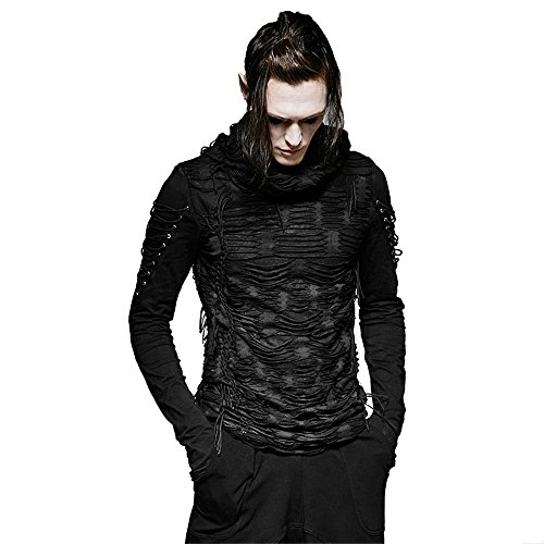 Gothic Hole T Shirt Costumes Double Layers Irregular Hooded Black T-shirt Punk Ripped Men Casual Tee Tops (M)