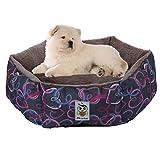 Nunubee Oval Dog Kennel Pet Nest Cat Pad Waterloo Blue Gray L-26x26x8.3 Inch (L, Hexagon)