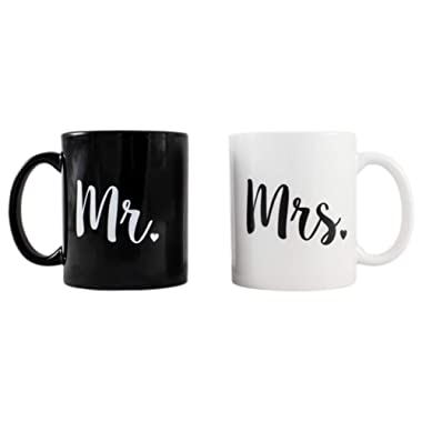 Cute Mr. and Mrs. Novelty Coffee Mug Set - Engagement - Wedding - Anniversary - Gift for Couples and Newlyweds