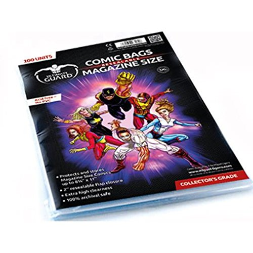 Comic Bags - Magazine, Resealable (10 Packs of 100) by Comic Bags & Backing Boards Ultimate Guard
