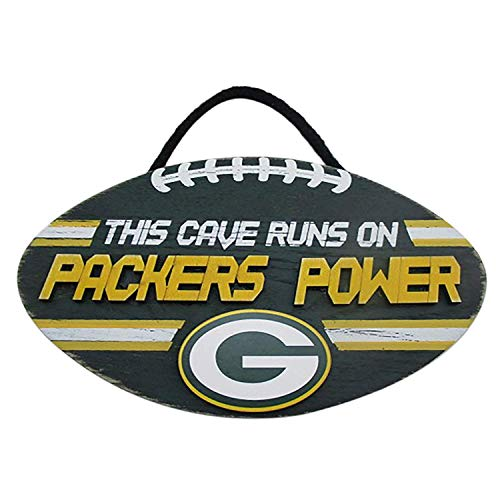Forever Collectibles FOCO NFL Team Logo Football Shape Mancave Man Cave Hanging Wall Sign (Green Bay Packers)