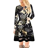Autumn iYBUIA Classic Style Women Christmas Printed Lace Dress Ladies Long Sleeve Mini Dress