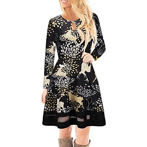 iLUGU Enthusiasm Knee-Length Dress for Women Long Sleeve O-Neck A-Line Transparent Hem Christmas Elk Printed Gown
