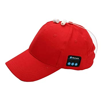 b5c0ac590cb Amazon.com  Baseball Cap Wireless Bluetooth Smart Cap Headset Headphone Hat  Sports Sun Hat Adjustable Hat Speaker Summer Cap for Men Women (Red)   Musical ...