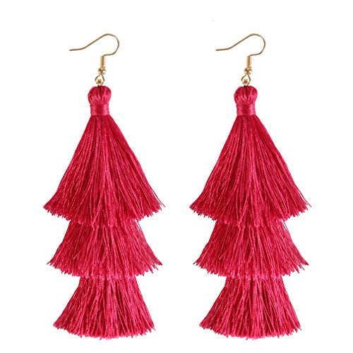 ELEARD Tassel Earrings Tiered Thread Tassel Dangle Earrings Statement Layered Tassel Drop Earrings (3 Layers hot Pink)