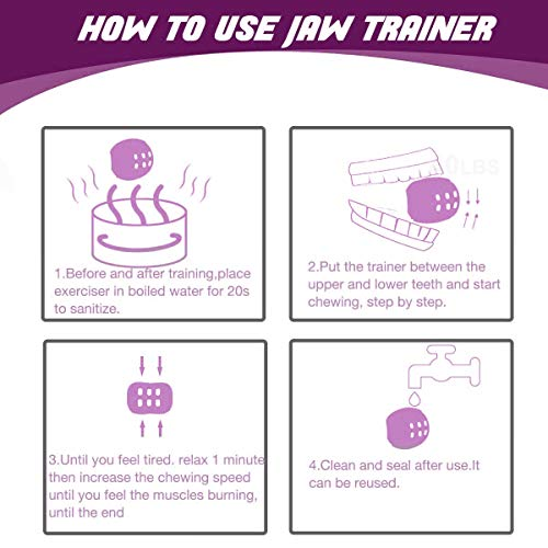 Jawzrsize, Face, and Neck Exerciser - Define Your Jawline, Slim and Tone Your Face, Look Younger and Healthier - Helps Reduce Stress and Cravings - Jaw Exerciser (purple)